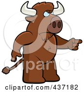 Royalty Free RF Clipart Illustration Of An Angry Buffalo Standing And Pointing His Finger To The Right