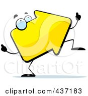 Royalty Free RF Clipart Illustration Of A Dancing Yellow Arrow by Cory Thoman