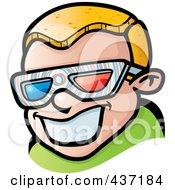 Happy Blond Boy Wearing 3d Glasses