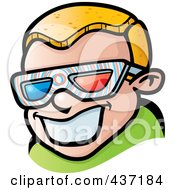 Royalty Free RF Clipart Illustration Of A Happy Blond Boy Wearing 3d Glasses