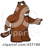 Royalty Free RF Clipart Illustration Of An Angry Beaver Standing And Pointing His Finger To The Right