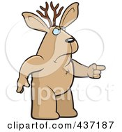 Royalty Free RF Clipart Illustration Of An Angry Jackalope Standing And Pointing His Finger To The Right