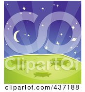 Royalty Free RF Clipart Illustration Of A Green Alien Planet With Craters Against A Starry Outer Space by Cory Thoman