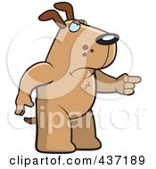 Angry Dog Standing And Pointing His Finger To The Right