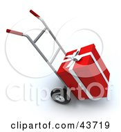 Clipart Illustration Of A Red Present Loaded On A Hand Truck