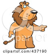Royalty Free RF Clipart Illustration Of An Angry Lion Standing And Pointing His Finger To The Right by Cory Thoman