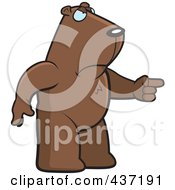 Royalty Free RF Clipart Illustration Of An Angry Groundhog Standing And Pointing His Finger To The Right by Cory Thoman