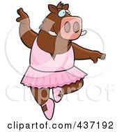 Royalty Free RF Clipart Illustration Of A Ballerina Boar Dancing by Cory Thoman