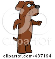 Royalty Free RF Clipart Illustration Of An Angry Dachshund Standing And Pointing His Finger To The Right