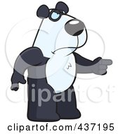 Royalty Free RF Clipart Illustration Of An Angry Panda Standing And Pointing His Finger To The Right