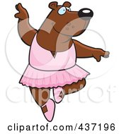 Royalty Free RF Clipart Illustration Of A Ballerina Bear Dancing by Cory Thoman