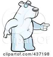 Royalty Free RF Clipart Illustration Of An Angry Polar Bear Standing And Pointing His Finger To The Right by Cory Thoman