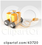 Clipart Illustration Of A Computer Mouse Connected To A Yellow Christmas Present On Wheels