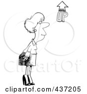 Royalty Free RF Clipart Illustration Of A Black And White Outline Design Of A Businesswoman Looking At An Up Arrow