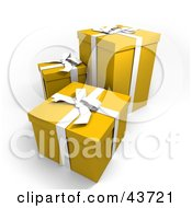 Clipart Illustration Of Three Yellow Gift Boxes With White Ribbons And Bows