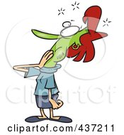 Royalty Free RF Clipart Illustration Of A Sick Green Woman Covering Her Mouth