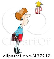 Royalty Free RF Clipart Illustration Of A Cartoon Businesswoman Looking At An Up Arrow