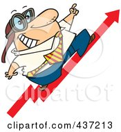 Royalty Free RF Clipart Illustration Of A Cartoon Businessman Wearing Goggles And Standing On An Upward Arrow by toonaday