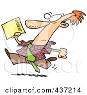 Royalty Free RF Clipart Illustration Of A Cartoon Businessman Running To Deliver An Urgent Memo