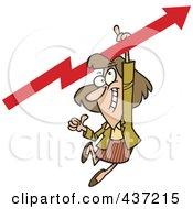 Royalty Free RF Clipart Illustration Of A Cartoon Businesswoman Holding A Thumb Up And Hanging From An Upward Arrow