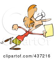 Royalty Free RF Clipart Illustration Of A Cartoon Woman Running With An Urgent Memo by toonaday