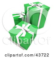 Clipart Illustration Of Green Boxes Gift Wrapped With White Ribbons And Bows