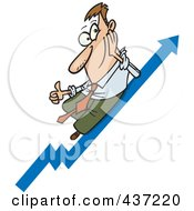 Royalty Free RF Clipart Illustration Of A Cartoon Businessman Holding A Thum Up On A Growth Arrow by toonaday