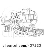 Royalty Free RF Clipart Illustration Of A Black And White Outline Design Of A Man Watching Tv Hooked Up To A Generator At His Camp Site by toonaday