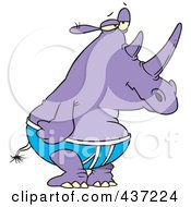 Royalty Free RF Clipart Illustration Of A Purple Rhino In Underwear by toonaday