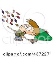 Royalty Free RF Clipart Illustration Of A Breeze Blowing More Leaves On The Ground For A Cartoon Boy To Rake Up by toonaday