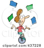 Royalty Free RF Clipart Illustration Of A Cartoon Businesswoman Juggling File Folders On A Unicycle by toonaday