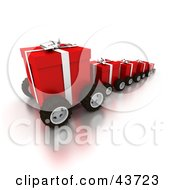 Clipart Illustration Of A Line Of Red Christmas Gifts On Wheels