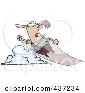 Royalty Free RF Clipart Illustration Of A Cartoon Businessman Shooting Up And Away