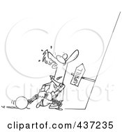 Royalty Free RF Clipart Illustration Of A Black And White Outline Design Of A Man Ready To Drag His Ball And Chains Uphill by toonaday