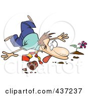 Royalty Free RF Clipart Illustration Of A Collapsed Unlucky Cartoon Businessman Over A Pot by toonaday