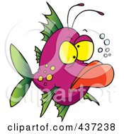 Royalty Free RF Clipart Illustration Of A Grumpy Ugly Fish by toonaday