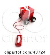 Computer Mouse Connected To A Wheeled Red Christmas Present