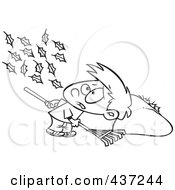 Royalty Free RF Clipart Illustration Of A Black And White Outline Design Of A Breeze Blowing More Leaves On The Ground For A Boy To Rake Up by toonaday