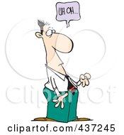 Royalty Free RF Clipart Illustration Of A Cartoon Businessman Realizing He Did Something Wrong