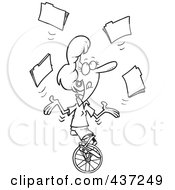 Royalty Free RF Clipart Illustration Of A Black And White Outline Design Of A Businesswoman Juggling File Folders On A Unicycle