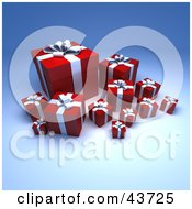 Clipart Illustration Of A Group Of Various Sized Red Gift Boxes