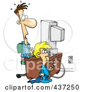 Royalty Free RF Clipart Illustration Of A Cartoon Boy Shocking His Dad By Unplugging His Computer by toonaday