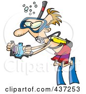 Royalty Free RF Clipart Illustration Of A Cartoon Scuba Man Taking Underwater Pictures