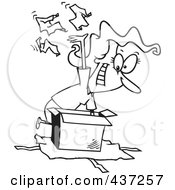 Royalty Free RF Clipart Illustration Of A Black And White Outline Design Of A Woman Tearing The Wrapping Paper Off Of A Gift