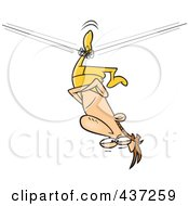 Royalty Free RF Clipart Illustration Of An Unbalanced Tight Rope Walker Stuck Upside Down