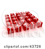 Clipart Illustration Of 3d Presents Wrapped In Red With White Ribbons And Bows