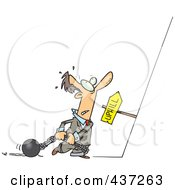 Royalty Free RF Clipart Illustration Of A Cartoon Man Ready To Drag His Ball And Chains Uphill
