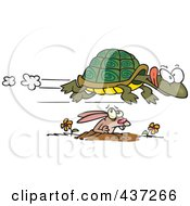 Royalty Free RF Clipart Illustration Of A Fast Tortoise Flying Over A Hare by toonaday