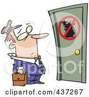 Royalty Free RF Clipart Illustration Of An Unwelcome Cartoon Salesman Standing At A Door by toonaday