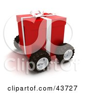 Clipart Illustration Of A Red Christmas Present Moving On Wheels by Frank Boston
